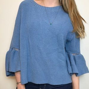 Vintage boho blue knit sweater with bell sleeves